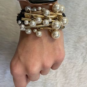 Pearl gold and cord bracelet